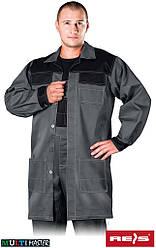 Халат чоловічий 65% поліефір, 35% хлопок, 262гр./м²., сіро-чорний, MULTI MASTER, Reis