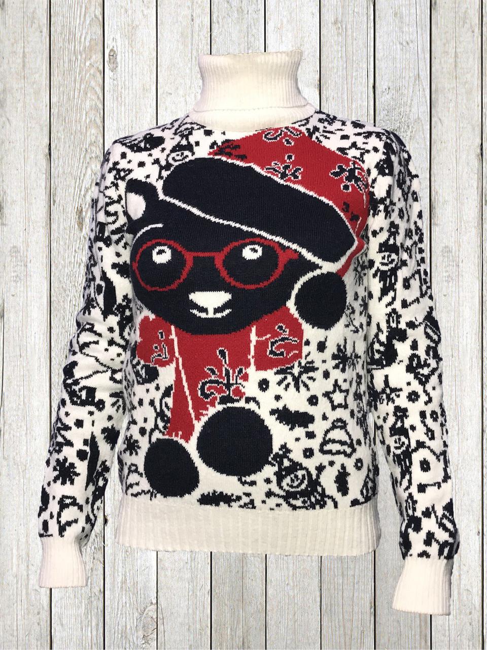 Женский шерстяной свитер Белого цвета с Мишкой