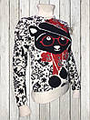 Женский шерстяной свитер Белого цвета с Мишкой, фото 2