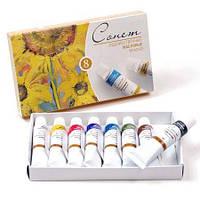Набор масляных красок СОНЕТ, 8цв. по 10мл, ЗКХ картонная уп-ка 2641098