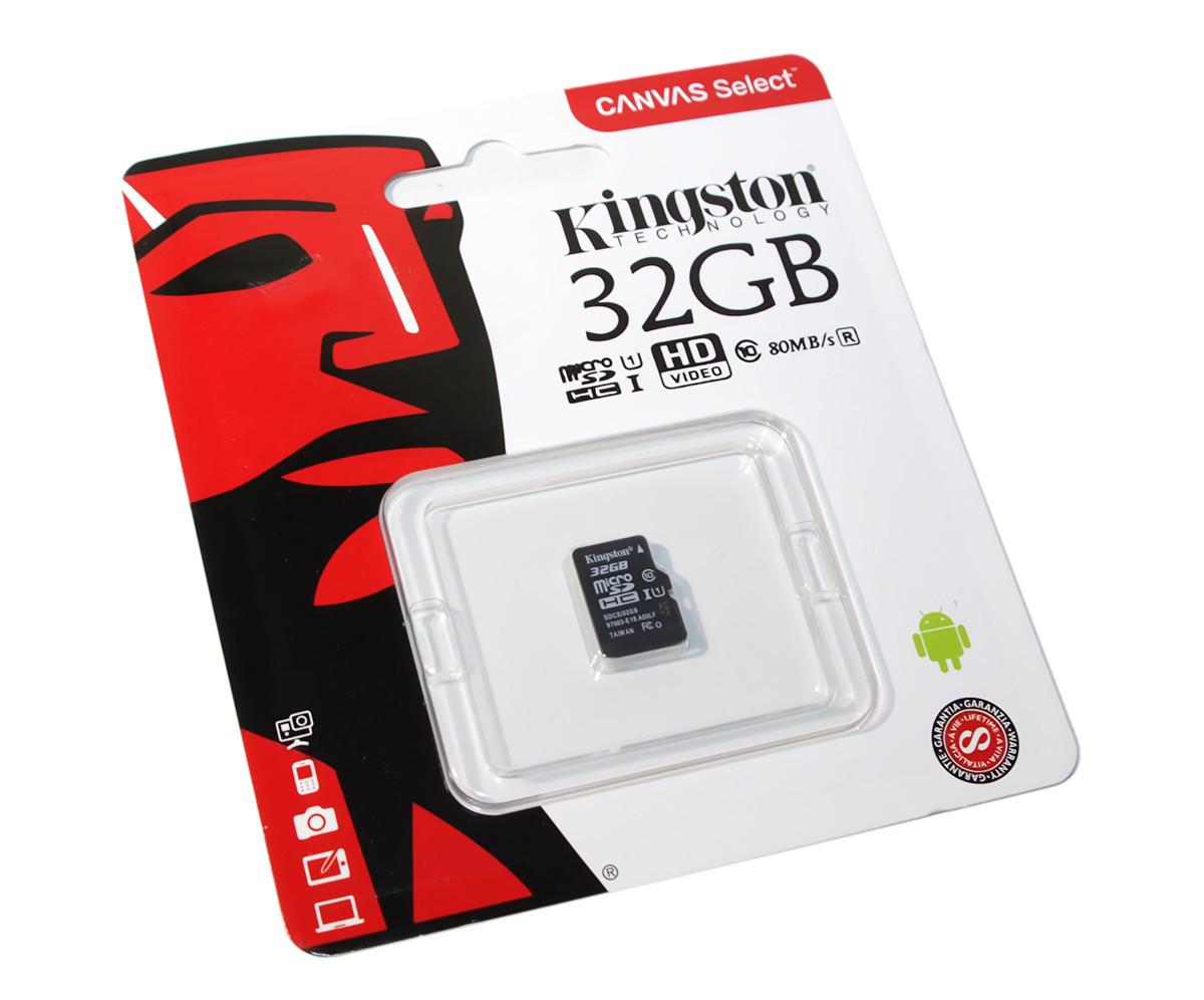 Карта памяти micro SDHC 32Gb Kingston Canvas Select C10 UHS-I (SDCS/32GBSP)