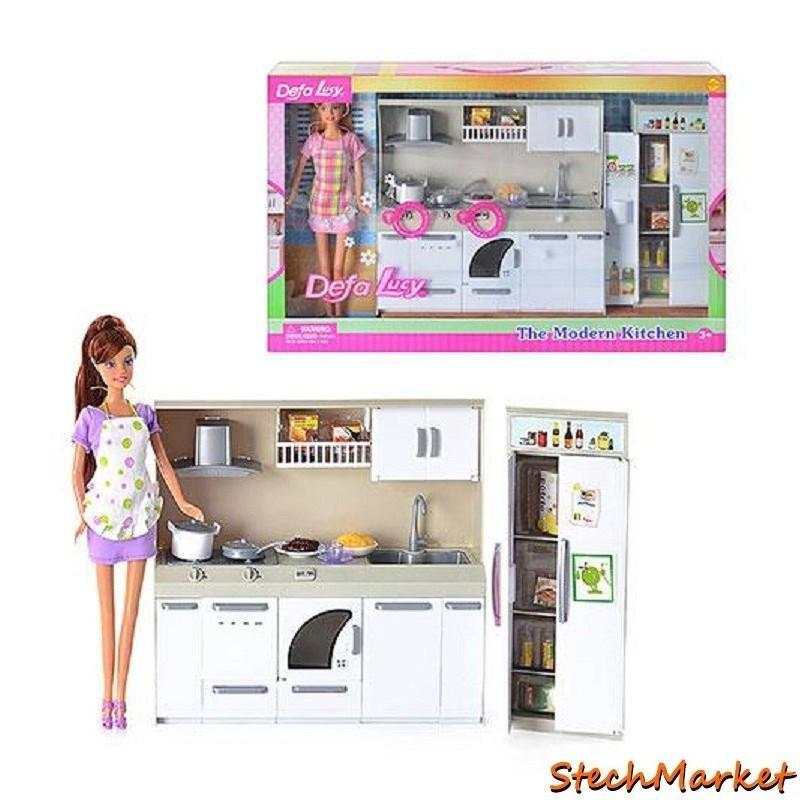 Кукла Defa 6085 2 вида с кухонной гарнитурой