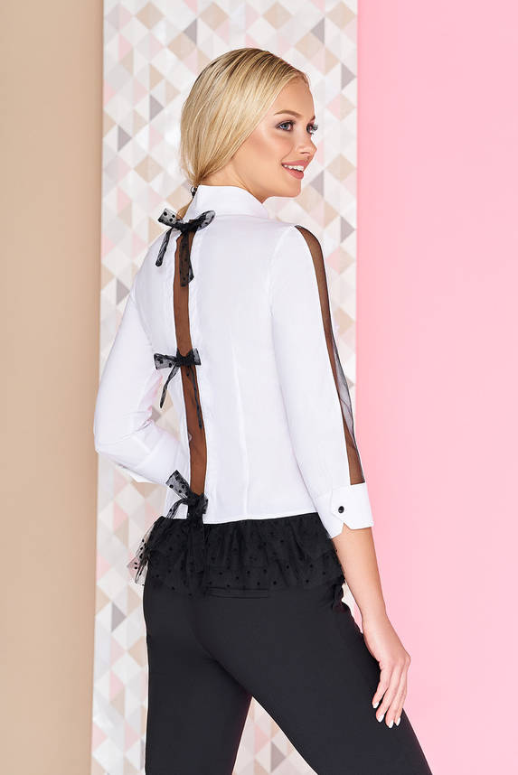 Нарядная белая блуза с контрастной баской , фото 2
