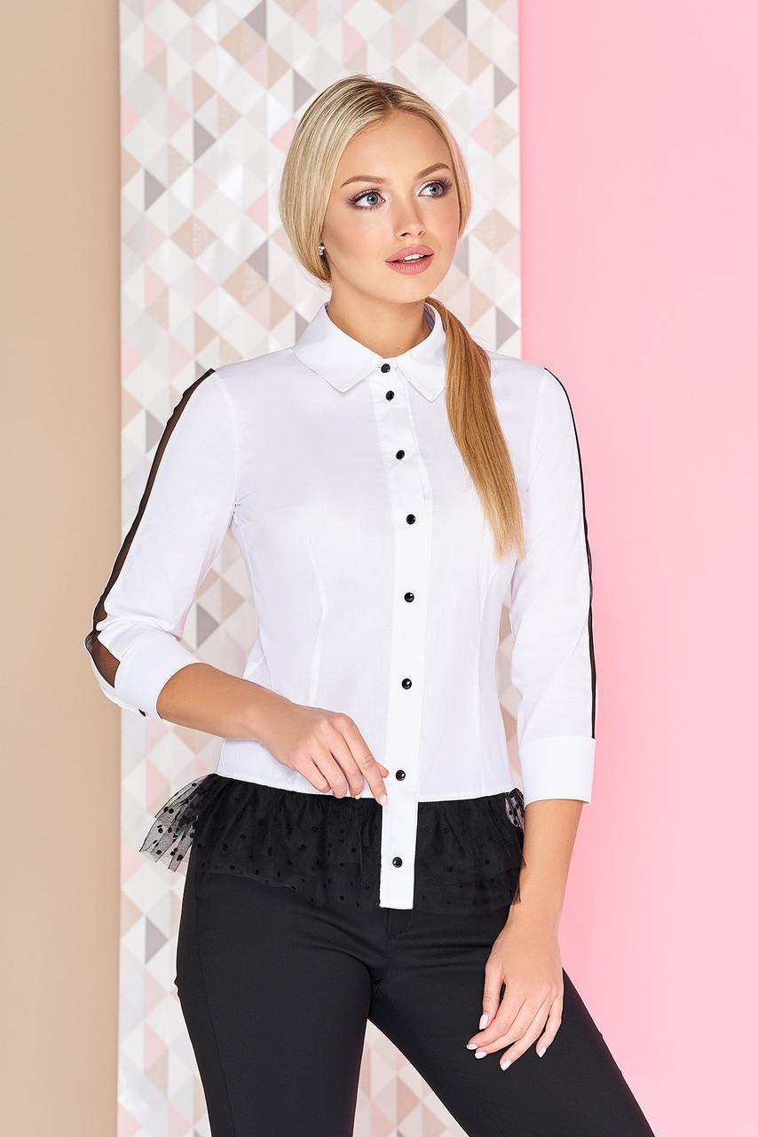 Нарядная белая блуза с контрастной баской