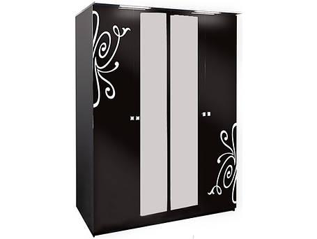 Шкаф 4Д3 Фелиция Новая Черный лак (Світ Меблів TM), фото 2