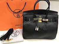2affb0d18262 Стильная женская сумочка Hermes Birkin Lux 30см из натуральной кожи черная  1763