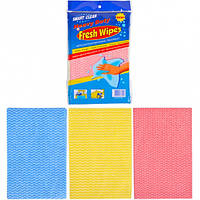Тряпка Fresh Wipes 3 цвета по 3 шт, полиэстер (29×19 см), фото 1