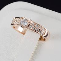 Миловидное кольцо с кристаллами Swarovski, покрытие золото 0508