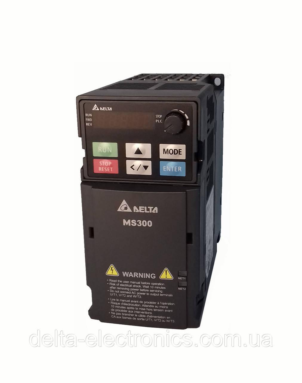 Преобразователь частоты MS300, 230В, 0,75 кВт, 4,8 /5,0А, ЭМС С2 фильтр, векторный, c ПЛК, VFD4A8MS21AFSAA