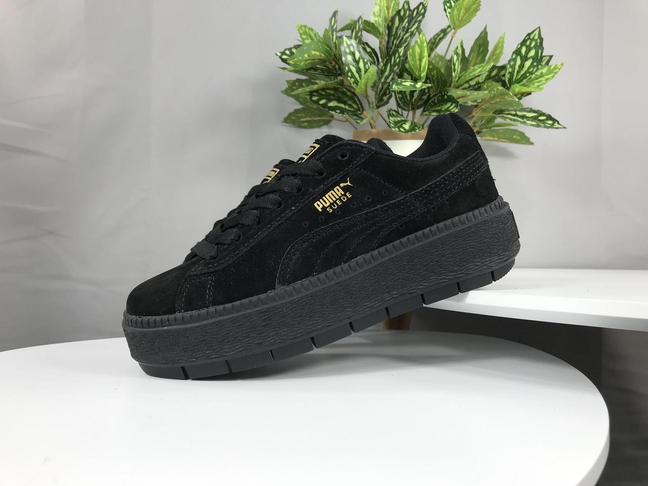 cd61c499178e Женские кроссовки Puma Rihanna Fenty Suede Platform full Black - Компания