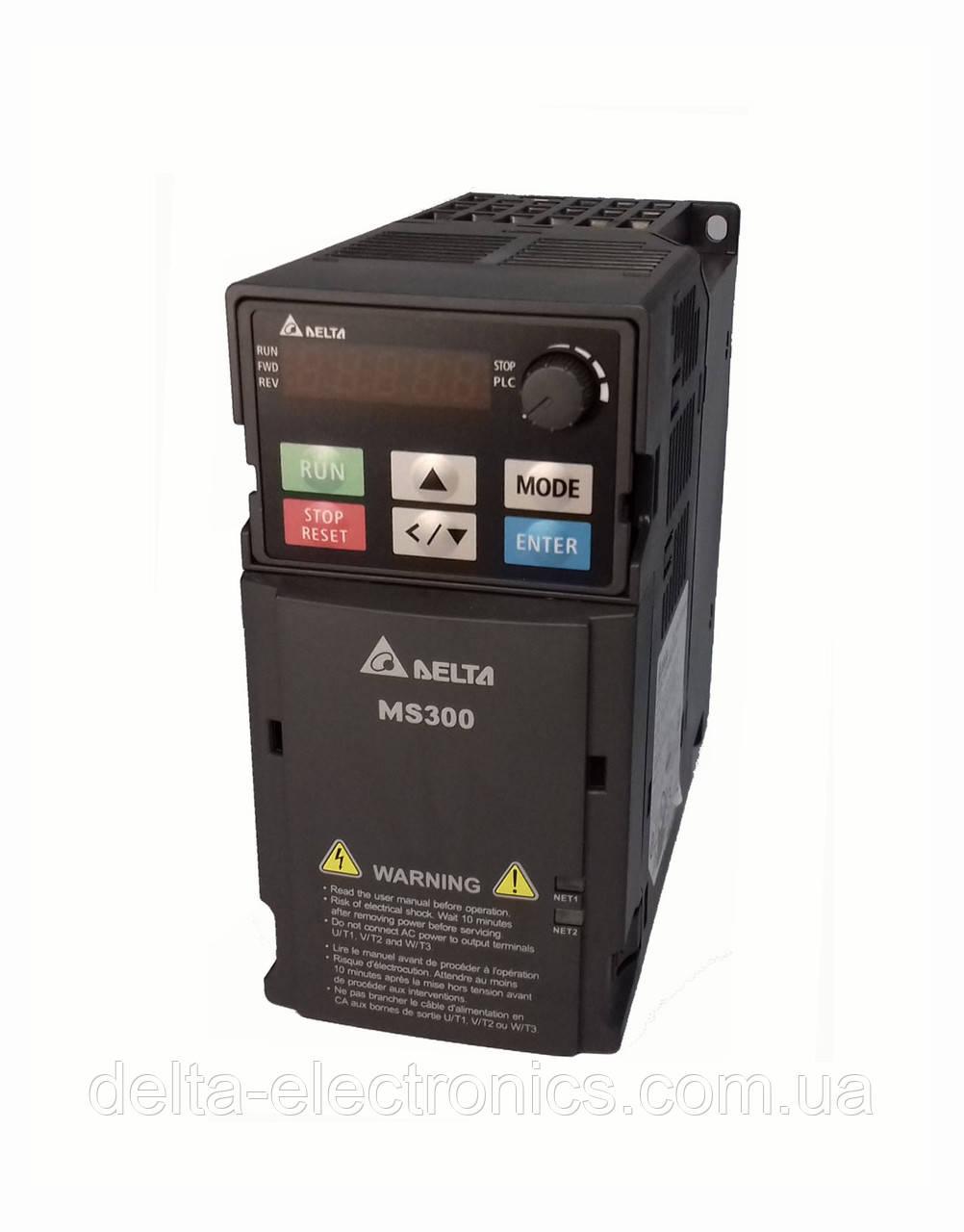 Преобразователь частоты MS300, 230В, 0,2 кВт, 1,6 /1,8А, ЭМС С2 фильтр, векторный, c ПЛК, VFD1A6MS21AFSAA