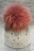 Шапка детская  на девочку зима бежевого цвета ELF KIDS (Украина) размер 50