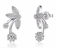 Серебряные серьги 925 пробы, серьги из стерлингового серебра, женские серебряные серьги, код (0114)