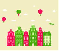 Интерьерная наклейка в детскую Городок (декор для стен, домики, парашюты, самолеты детские)