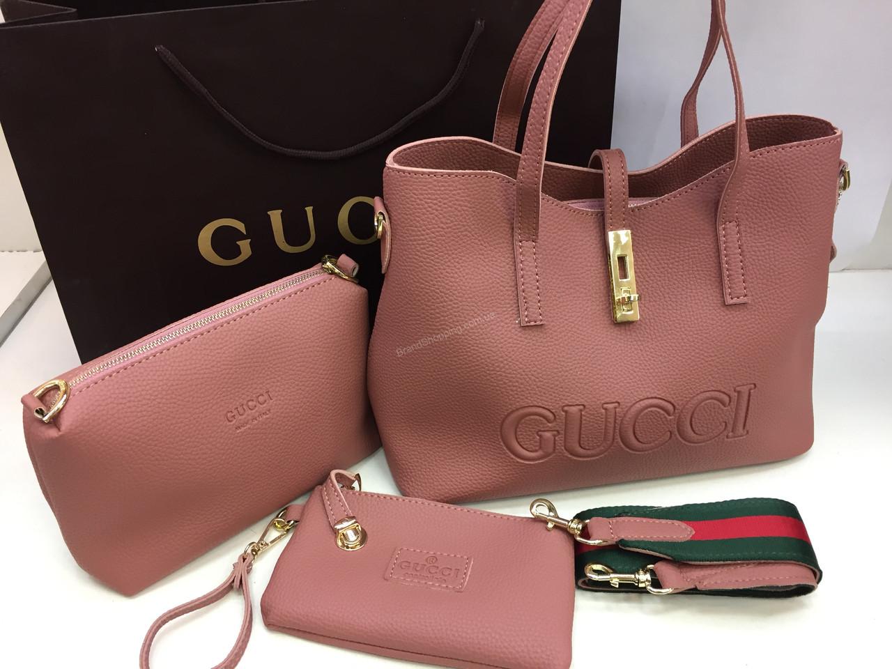 8e50f6ada666 Сумка женская Gucci Lux в нежно пудровом цвете 3 в 1 арт 2098 - The style