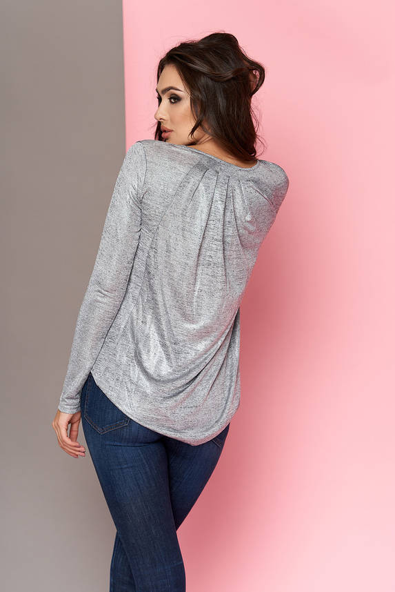 Модная блестящая блузка туника 44-54р серая, фото 2