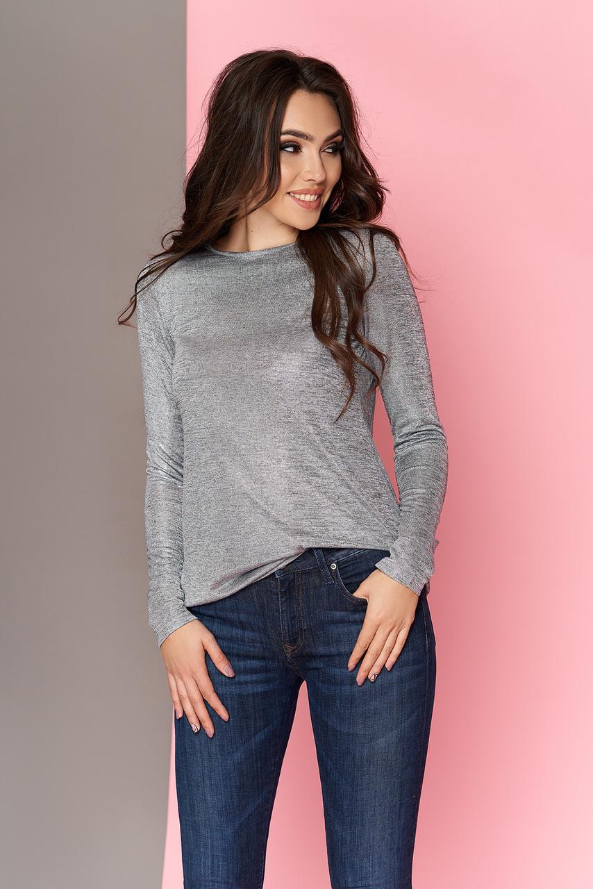Модная блестящая блузка туника 44-54р серая