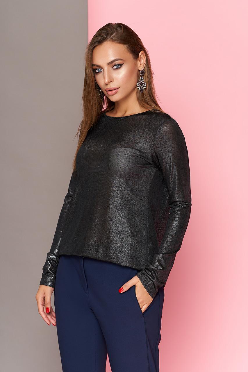 Модная блестящая блузка туника 44-54р черная