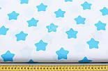 Ткань с тёмно-бирюзовыми большими звёздами-пряниками на белом фоне (№93)., фото 2