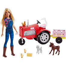 Лялька Барбі Фермер на тракторі Barbie Doll and Tractor