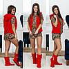 Женский костюм для дома (Цвета: красный, молоко, беж)