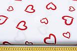 "Ткань бязь ""валентинка красная на белом"" (№109)., фото 2"