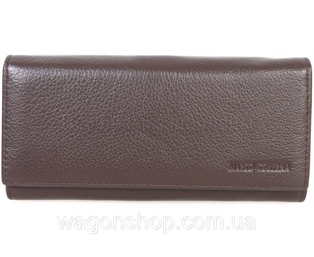 54f29db56da8 Женский кожаный кошелек коричневого цвета на магните Marco Coverna -  Интернет - магазин