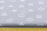 Бязь с разными белыми коронами на светло сером фоне (№181а), фото 2