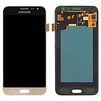 Дисплей для Samsung J320 Galaxy J3 (2016), модуль в сборе (экран и сенсор) золотистый, оригинал #GH97-18414B