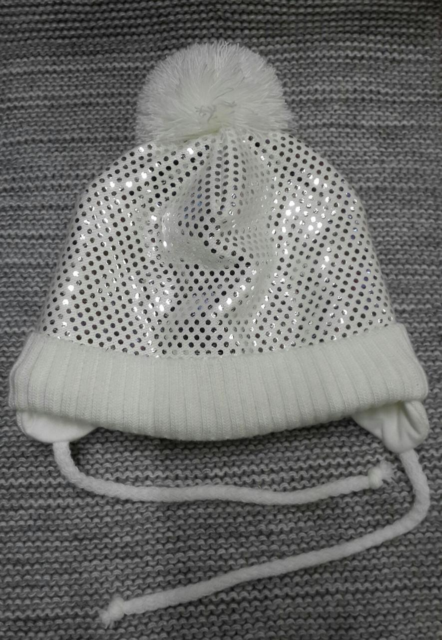 Шапка детская  на девочку зима молочного цвета MAGROF (Польша) размер 46 48