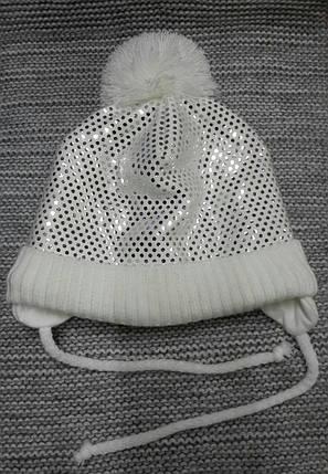 Шапка детская  на девочку зима молочного цвета MAGROF (Польша) размер 46 48, фото 2