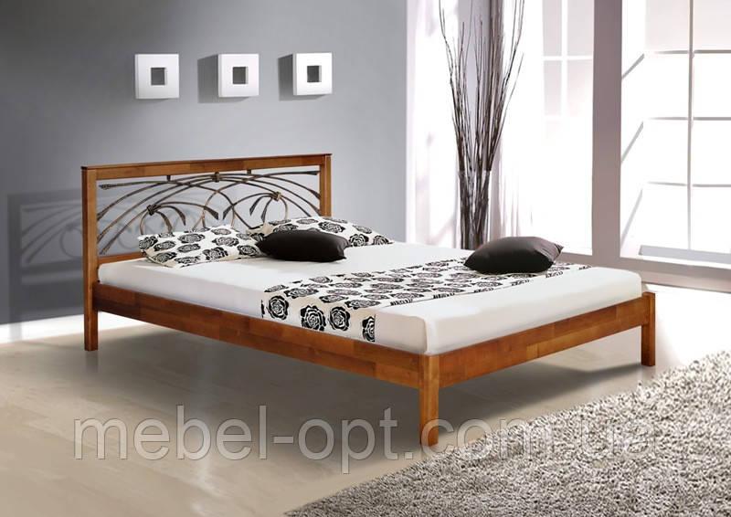 Кровать полуторная деревянная с металлическим изголовьем Карина 140х200, цвет темный орех