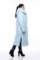 Блакитний світлий пуховик жіночий нижче коліна 42-54, фото 2