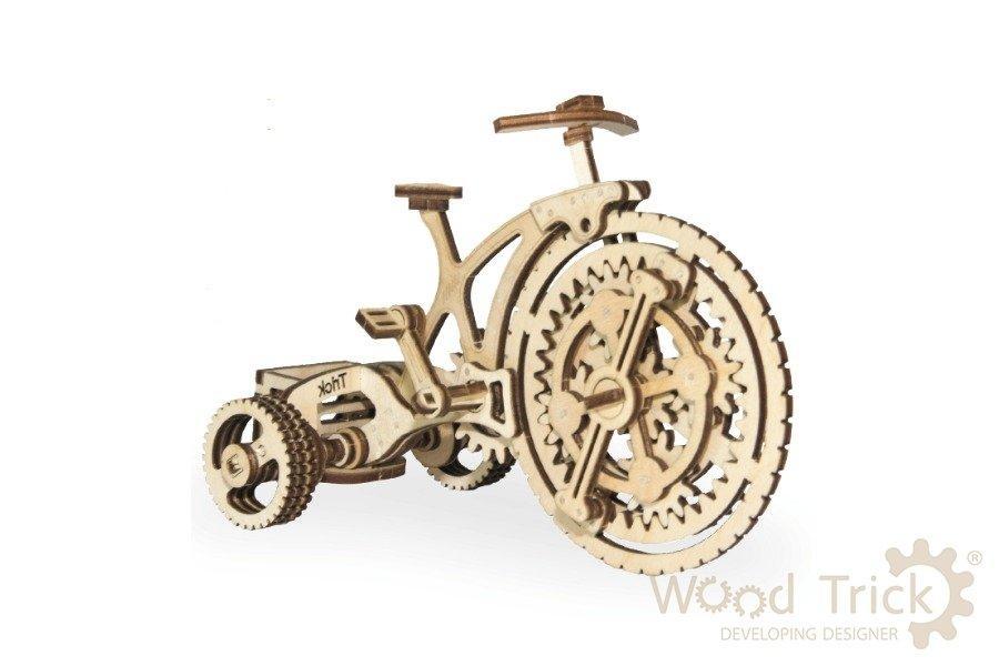 3D деревянный сборный механический конструктор Wood Trick Велосипед