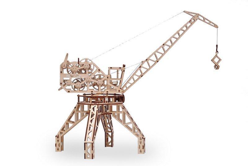 3D деревянный сборный механический конструктор Wood Trick Портовый кран