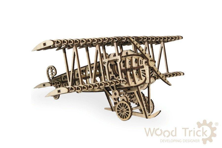 3D деревянный сборный механический конструктор Wood Trick Самолёт