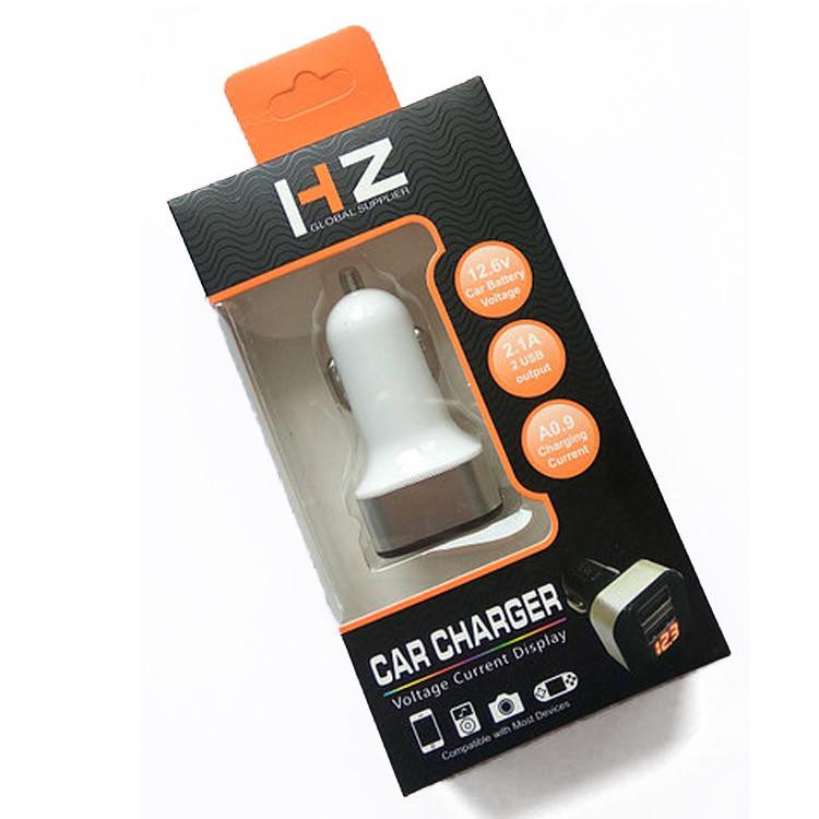 Адаптер в прикуриватель HZ 12-24V на 2 USB белый зарядное устройство зарядка в авто машину с вольтметром