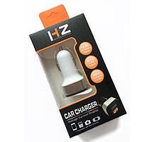Адаптер в прикуриватель HZ 12-24V на 2 USB белый зарядное устройство зарядка в авто машину с вольтметром, фото 1