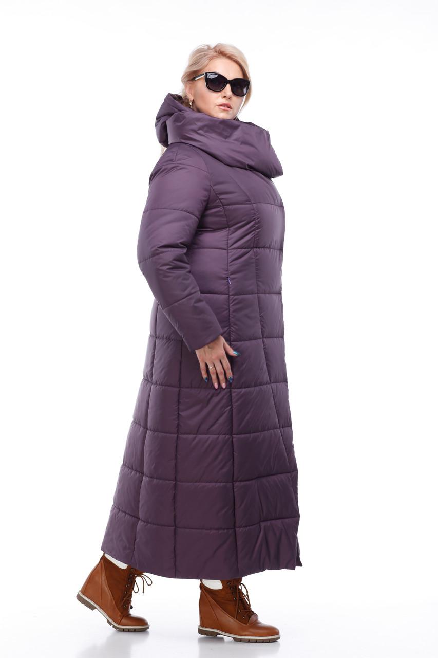 585a66b8c07 Размер 42 -56! Женская сливовая зимняя куртка-пуховик пальто на морозы  высокого качества