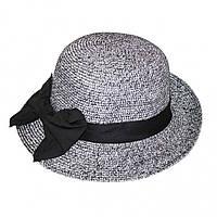 Женская летняя шляпа в черной лентой