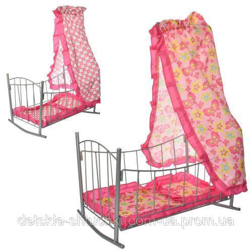 Кроватка 9349.для куклы,желез,качал,47-33-67см,балдахин,подушка,сп.место 43см, 33,5-47-5,5см