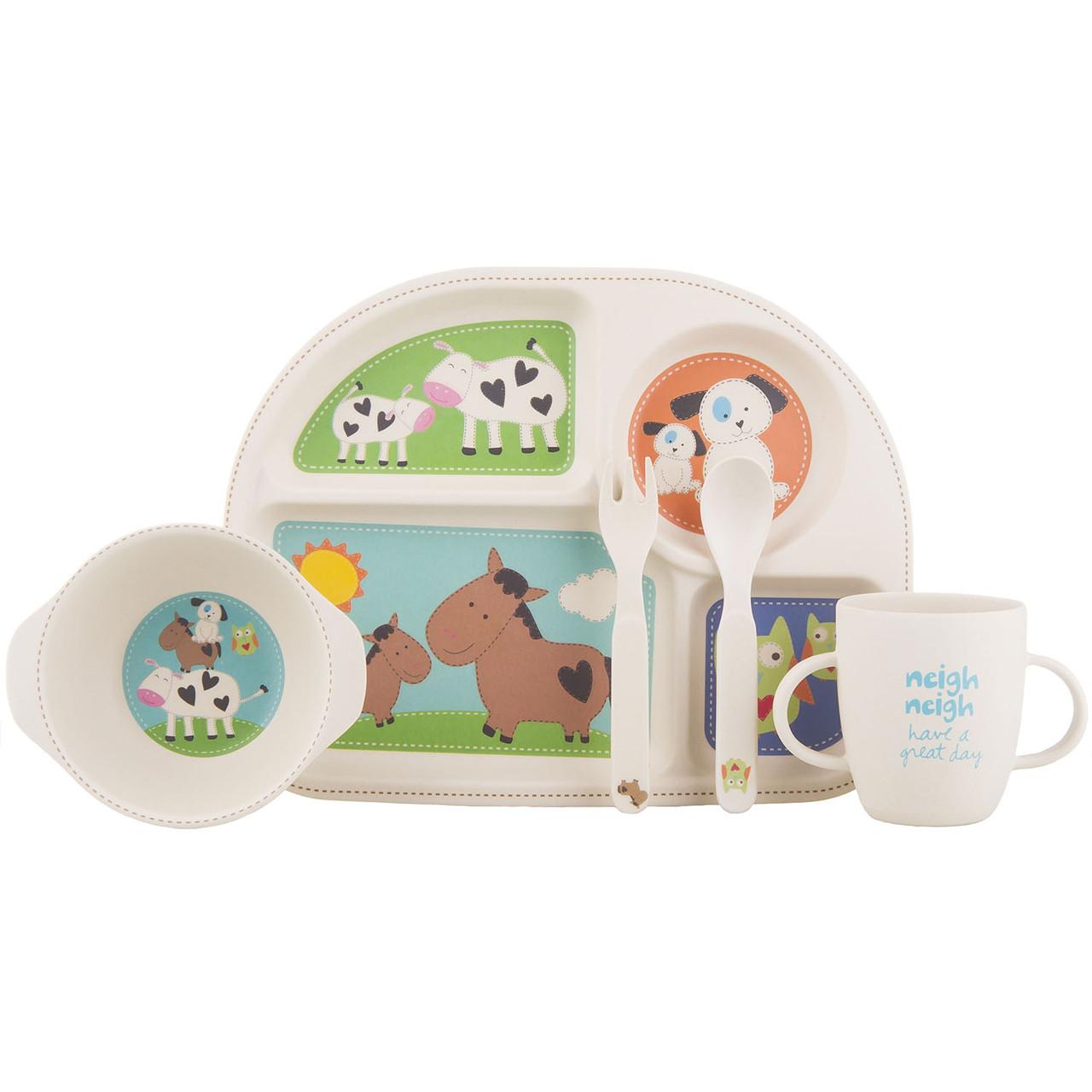 """Детский набор эко-посуды из бамбукового волокна """"Животные"""""""