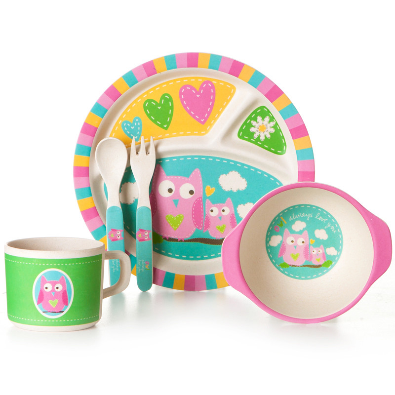 """Детский набор эко-посуды из бамбукового волокна """"Совята"""""""