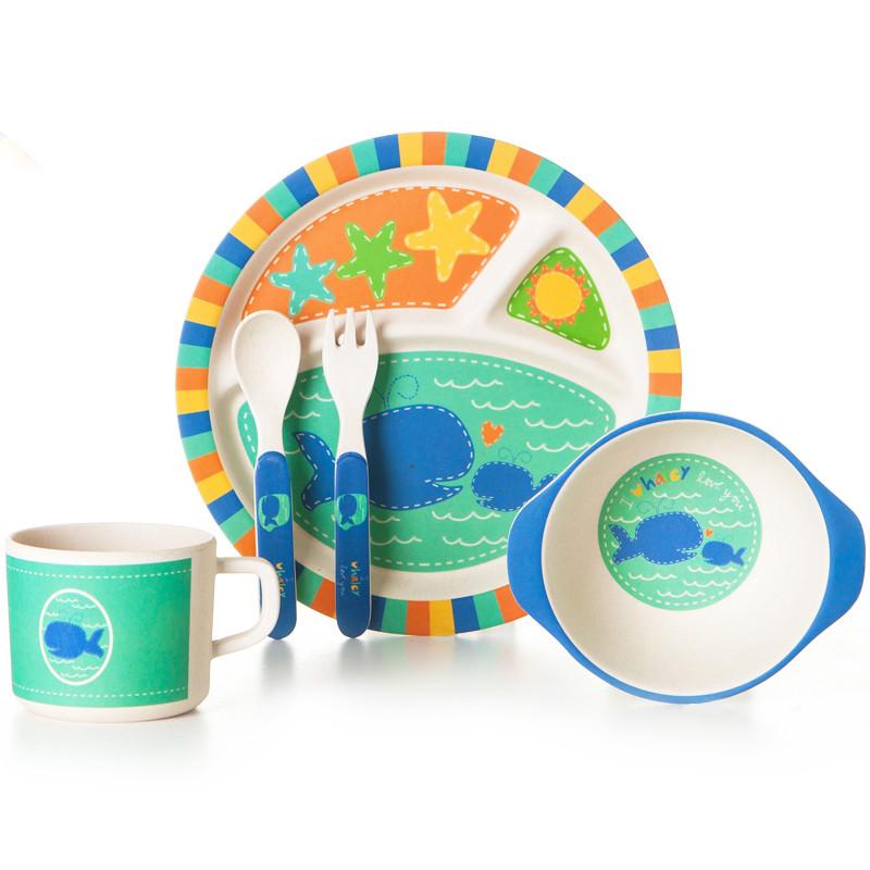 """Детский набор эко-посуды из бамбукового волокна """"Киты"""""""