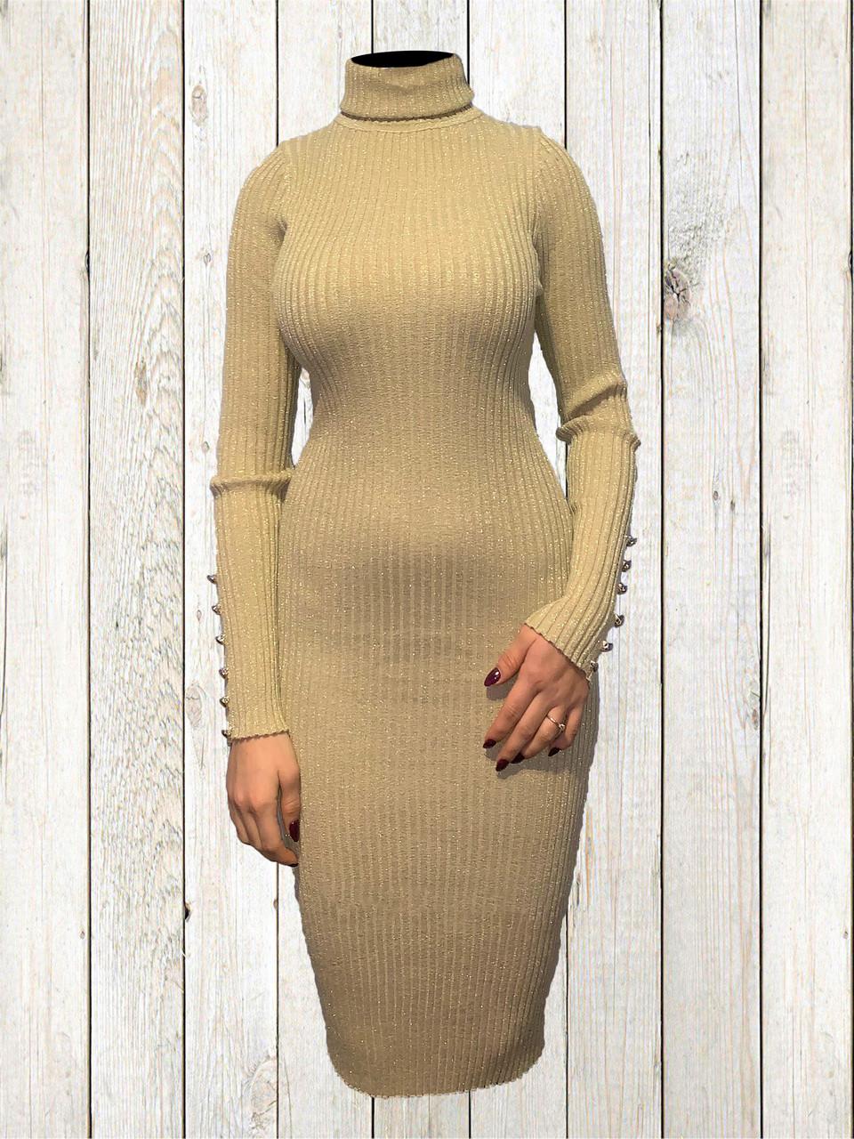 Женское платье-туника Золотистого цвета