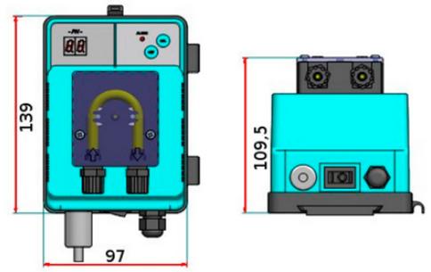 габаритный размеры насоса дозатора Microdos MP1SP–Rx