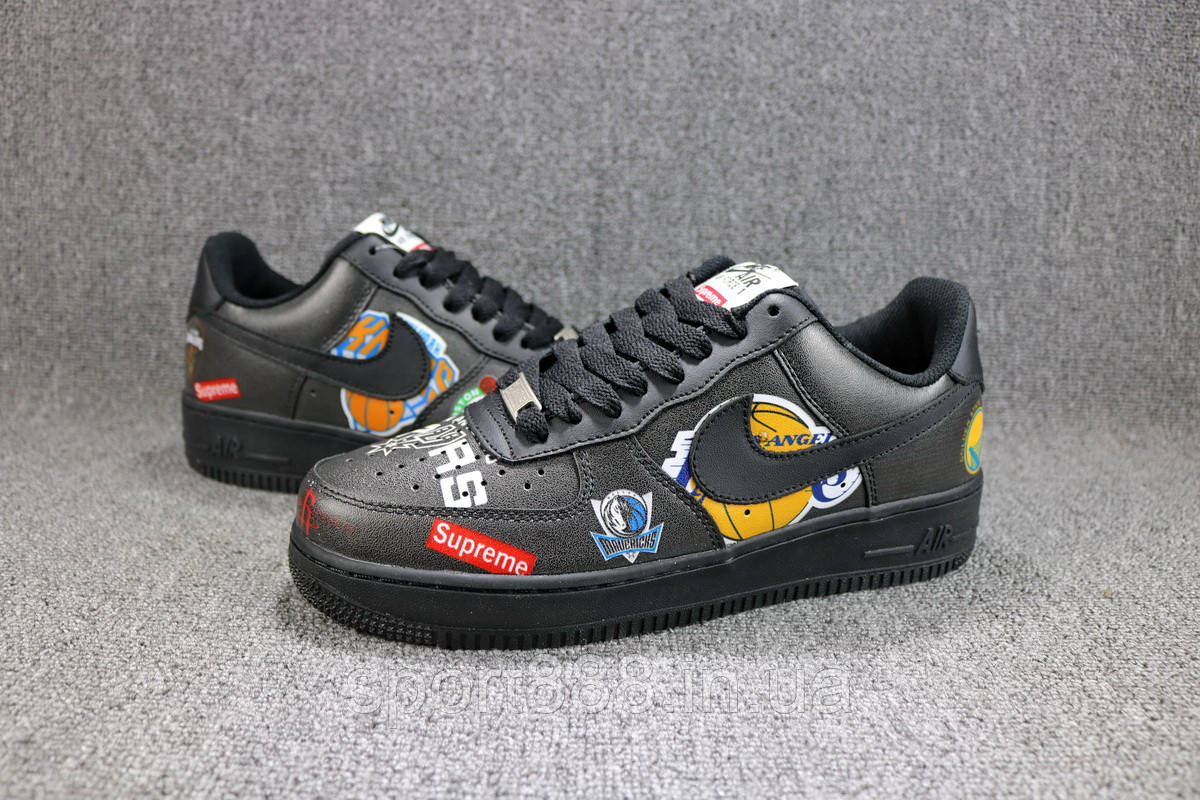 huge discount a5c31 c0095 Supreme x NBA x Nike Air Force 1 Low Black мужские женские кроссовки