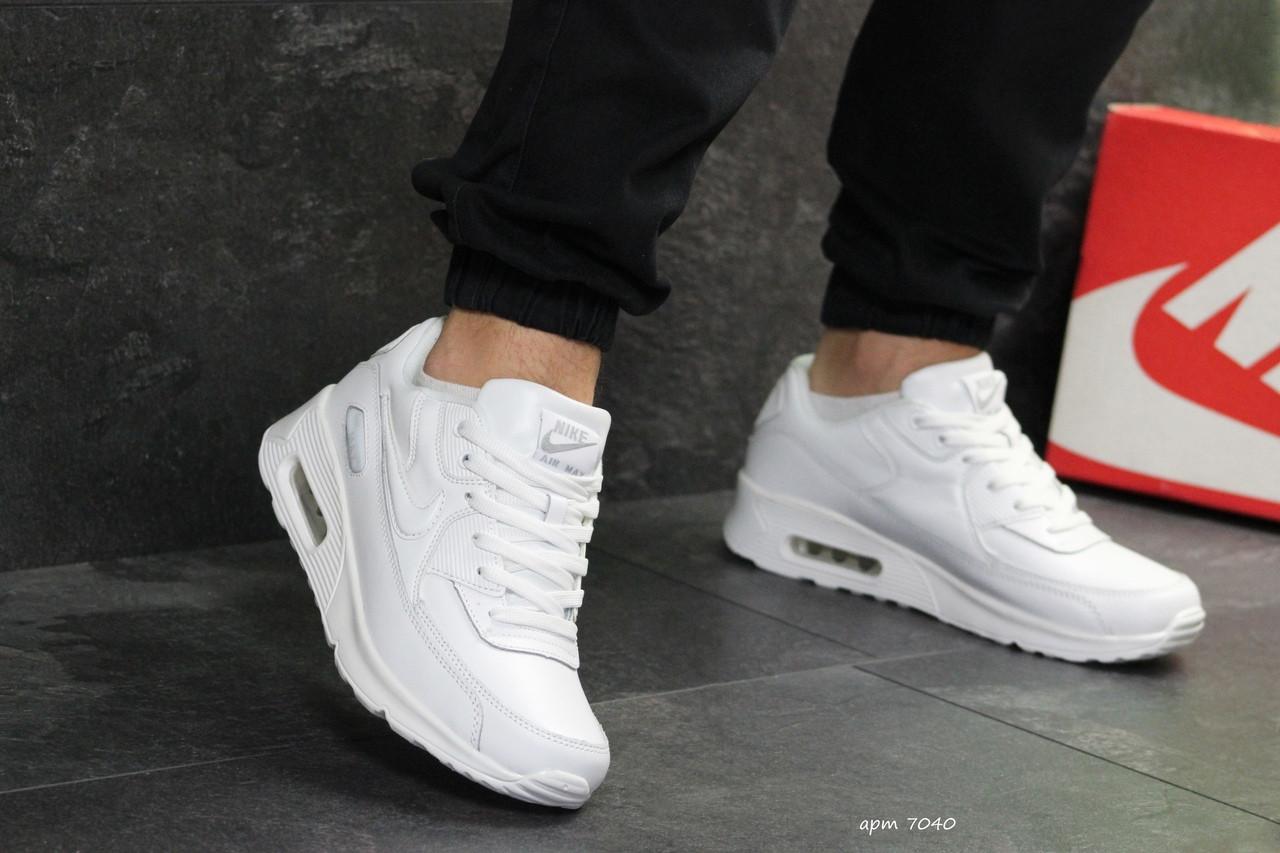 766b7b7c Мужские кроссовки Nike Air Max 90 (реплика), белые полностью (7040 ...