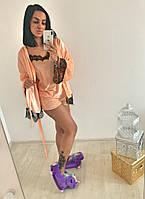 Пижама женская бархатная 4 в 1 (Халат+штаны+майка+шорты), фото 1