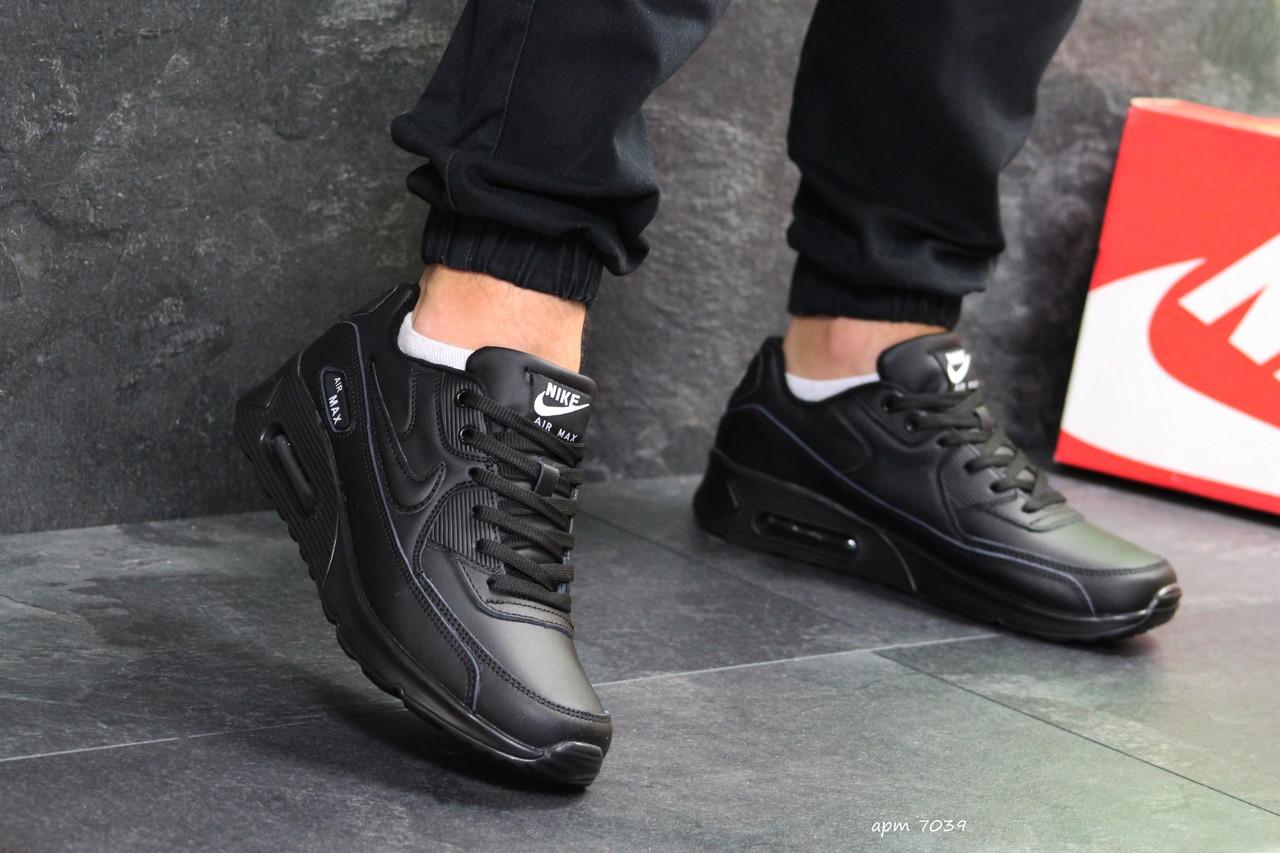 5ddf01ad Мужские кроссовки Nike Air Max 90 (реплика), черные полностью (7039 ...